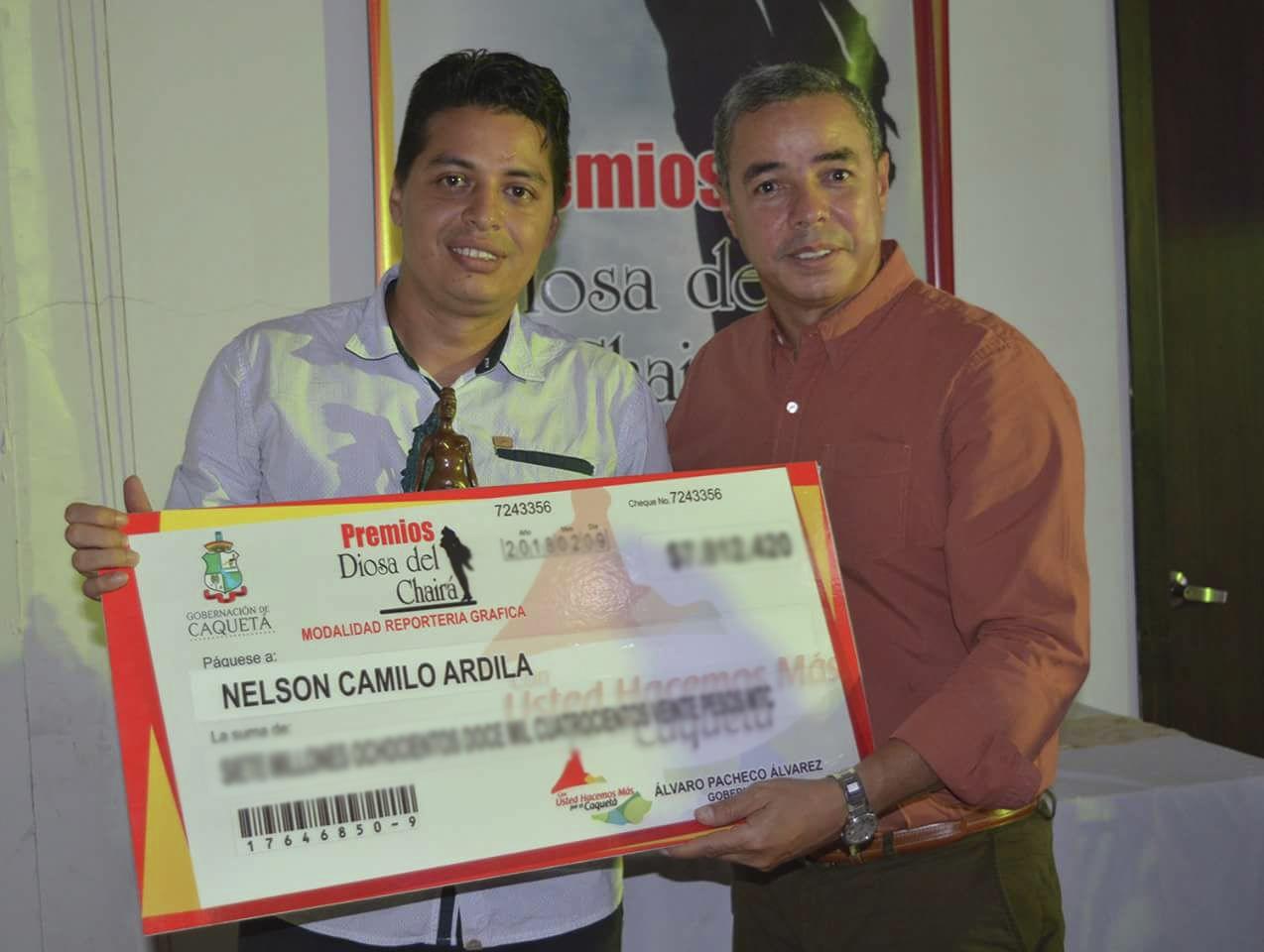 premio de periodismo Diosa del Chairá, en Reportería Gráfica para nuestro editor Nelson Camilo Ardila Zárate